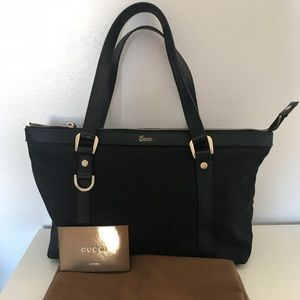 Black Gucci Canvas Tote / Shoulder Bag